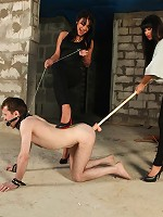 Skinny slave of two brutal mistresses gets the roughest anal workout ever