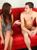 Cuckold worships his wifes feet and pussy while she handles another cock